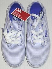 VANS Girl's White & Purple Striped Atwood Low Sneakers Sizes 1, 2, 2.5, 4