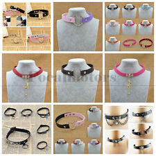 Collar Punk Goth Heart Choker Necklace Ring Harajuku Leather Neck Ring Black New