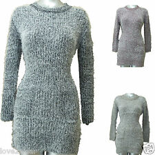 NEW Ladies Long Knitted Jumper Dress Soft Fluffy Eyelash Top Women size 10-16 NU