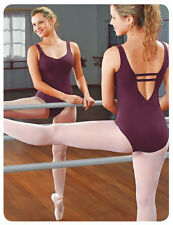 NEW! WOMENS LEOTARD WITH HORIZONTAL STRAPS ON BACK. 8 COLORS TO PICK FROM (D262)