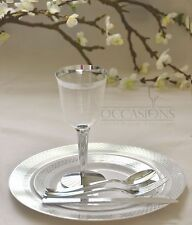Wedding Party Disposable Plastic  Plates and cutlery & wine cups  w/ silver rim