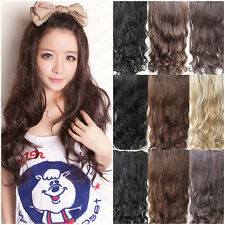 Women's Half-head Straight Cruly Wave Hairpieces Clip in Hair Extensions 7Clips