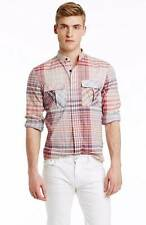 Armani Exchange Men's Band Collar Plaid Button Up Shirt/Top