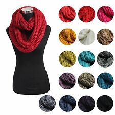 17 Solid Color Fashion Winter Neck Warmer Infinity Circle Knit Cowl Loop Scarf