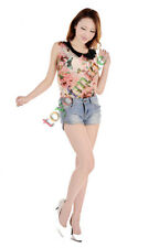 Women's Low-Waist Shorts Solid Personality Cowboy Wear White Hole Denim Shorts