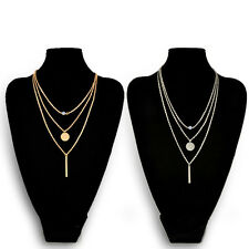 Silver/Gold Plated Luxury Style Three Layer Short Clavicle Necklace Sequin Chain
