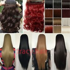 100% Real Fake Long Thick 1Pics Clip in on Hair Extensions Full Colors Lengths Y