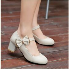 New Womens Sweet Lolita Bowknot Mid Heel Pumps Mary Janes Party Court Shoes Plus