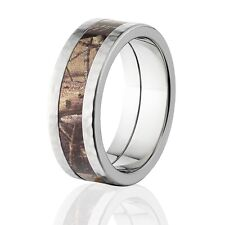 Official Licensed RealTree AP Camo Hammered Titanium Rings, Camo Wedding Bands