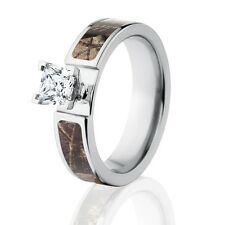 Official Licensed Realtree AP Engagement Camo Bands 1CT CZ Camo Wedding Rings