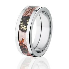 Pink Breakup Camo Rings, Mossy Oak Camo Rings, Camouflage Wedding Band
