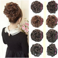 Ladies Clip In Curly Wave Synthetic Hairpiece Dish Hair Buns Contract Tail Wigs