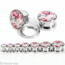 1 Pair Stainless Steel Peony Flower Patterned Screw Ear Plugs Stretcher Expander