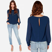 Fashion Women Loose Sexy Long-sleeved Chiffon Casual Blouse Shirt Tops Elegant