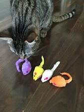 CATS LOVE OUR MICE TOYS, 12, 24, 36, 48, 60 Rattle Furry Fur Mouse with Catnip