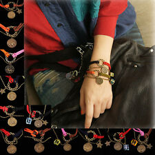 New Chic Leather Crystal Bracelet Alloy Zodiac Astrological Sign Horoscope Gift