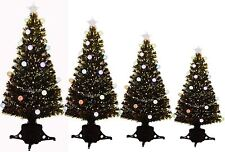 3, 4, 5, 6ft Green Fibre Optic Christmas Tree Slow Colour Changing LED Baubles