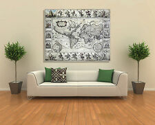Wall Art Canvas Picture Print - Vintage antique old map of the world