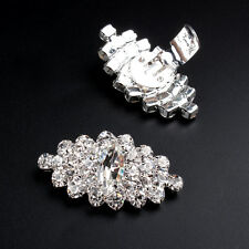 2PAIRS OF RHINESTONE CRYSTAL WEDDING BRIDAL FLORAL HIGH-HEEL SHOE CLIPS BUCKLES