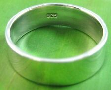 REAL925 sterling silver plain 7mm flat wedding band UNISEX Ring size 5.25 US -13