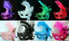 Exquisite quality brocade Lace Masquerade feather mask Christmas New Year party