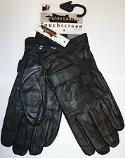 MENS BLACK LEATHER TOUCH SCREEN LONG STRAP THERMAL INSULATED FLEECE GLOVES