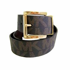 "MICHAEL Kors Collection 1.5"" Belt 553143 Choc/Brown Gold-Black Slv  Womens S-M-L"