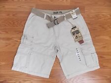NWT Mens IRON CO Khaki Cargo Shorts FREE BELT Size 34, 36