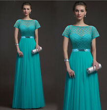 2014 New Evening Wedding Dresses Prom Bridal Party Ball Gown Short Sleeve Dress