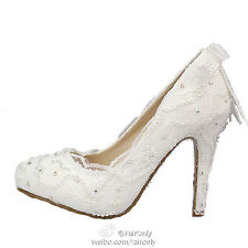 Elegant White Lace Wedding Bridal Shoes Party Heels Shoes With Beading & Pearls