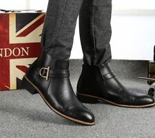 Fashion Mens short ankle boots dress buckle high top wingtip casual oxford shoes