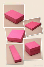 FUSCHIA CARDBOARD GIFT / JEWELLERY BOXES - FLOCK PAD INSERT - WHOLESALE