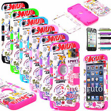 Deluxe High Impact Hybrid Hard Soft Case Cover Skin For iPod Touch 5 5th Gen+Pen