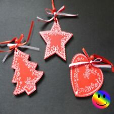 Set Of 3 x Wooden Christmas Tree Hanging Bauble Decorations