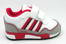 Kids Girls ADIDAS ZX 900 CF I White Pink Velcro Leather Trainers M22288