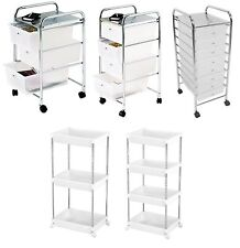 White Plastic Drawers Shelf Bathroom Salon Hairdresser Kitchen Storage Trolley