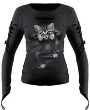 Spiral Direct Bright Eyes Slashed sleeve Goth Glove Top Cat Cute Kitten