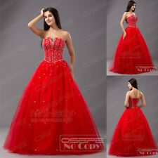 Red Beaded Ball Gown Formal Long Party Quinceanera Prom Evening Dress Size 6-16