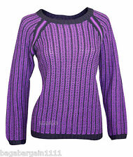 NEW LADIES M&S PURPLE BLACK WARM THICK CABLE KNIT JUMPER SWEATER TOP  SIZE 10-22