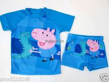 New Peppa Pig Boys Two Piece Uv Sun Protect Block Swimsuits Sets Blue 2Y-8Y #GK