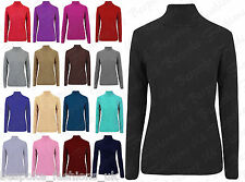 New Ladies Long Sleeve Stretchy Ribbed Polo Neck 100% Cotton Women's Tops 8-26