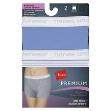 Hanes® Premium Women's Mid Thigh Boxer Briefs 2-Pack (Colors May Vary)