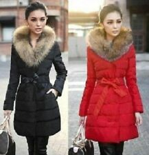 New Women's Long down cotton trench coat double Breasted padded jacket belt fur