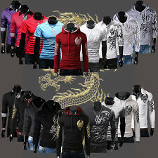 Mens Casual Dragon Devil Tattoo Shirt Long/Short Sleeve Sweater Hoodies Tee Tops