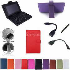 "Colorful Keyboard Leather Case+Stylus For 7"" Proscan PLT7050 Android 4.4 Tablet"