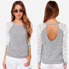 Women Backless Long Sleeve Embroidery Lace Crochet Shirt Top Blouse Modish