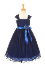 Special Occasion Royal & Navy Blue Mesh Girls Dress, Wedding Flower Girl Dress