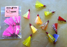 SILLY WILLY LURES #2 HOOK TEASERS OR FLIES.HAND TIED FOR POMPANO, BLUEFISH 10 PK