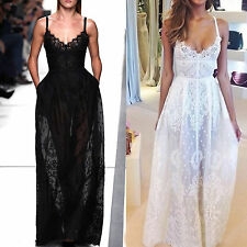 Sexy Women Summer Long Lace Evening Party Dress Ladies Maxi Skirt Beach Dresses