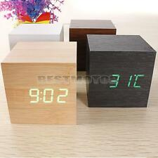 Modern Mini Wood Square 5V DC LED Alarm Digital Clock Wooden Thermometer USB/AAA
